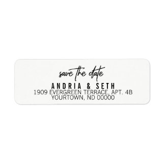Return Address Labels Save the Date Modern Script