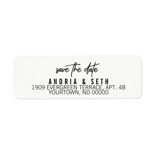 Return Address Labels Save the Date Modern Script