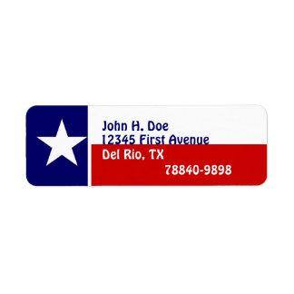 Return Address Labels Texas Lone Star Flag State