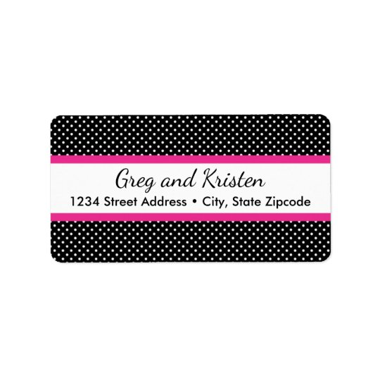 Return Address Labels │ Tiny Dots Black & Hot Pink
