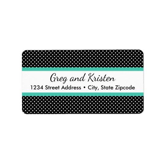 Return Address Labels │ Tiny Dots Black & Mint
