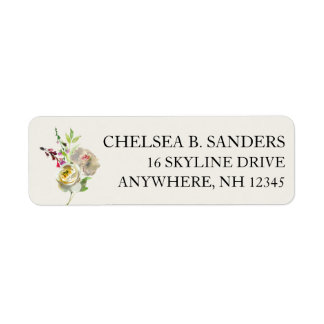 Return Address Labels White Rose Floral Bouquet