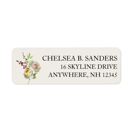 Return Address Labels White Rose Floral Bouquet