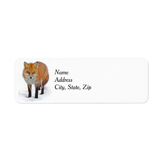 Return Address Labels with Fox Art