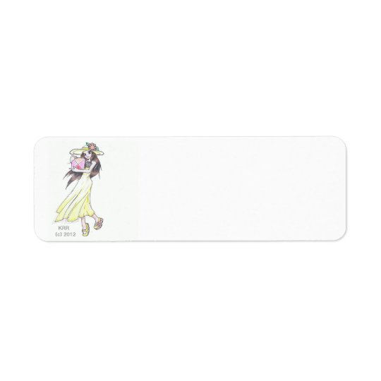 Return address labels with girl in yellow dress