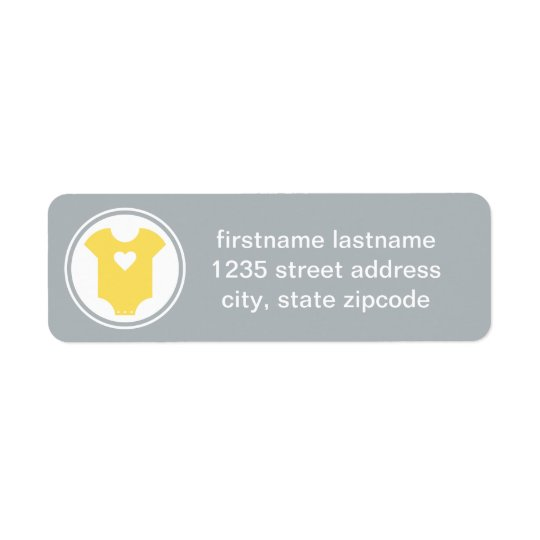 Return Address Labels | Yellow and Grey Baby