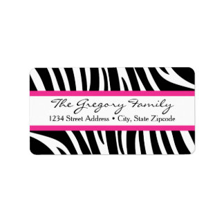 Return Address Labels │ Zebra Print Hot Pink