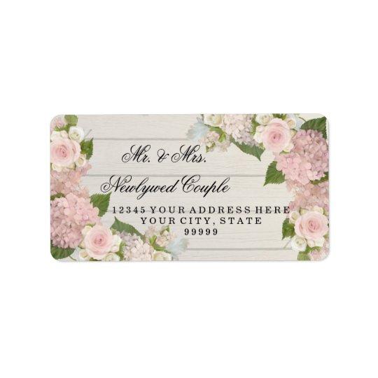 Return Address Large Wooden Board Pink Hydrangeas Address Label