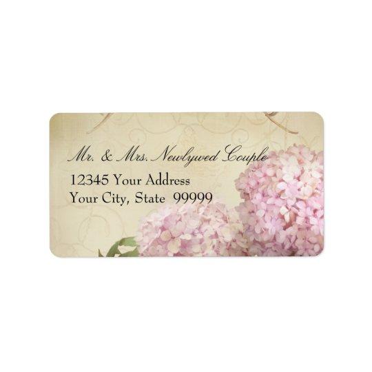 Return Address Matching Pink Hydrangea Wedding Label