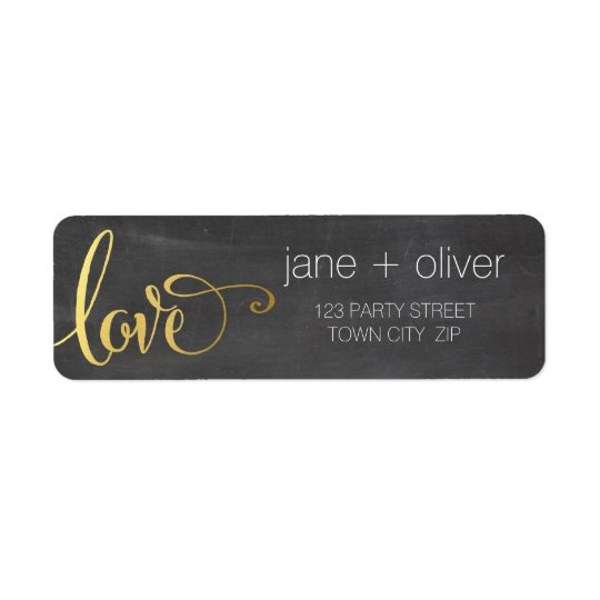 RETURN ADDRESS modern love script type gold grey Return Address Label