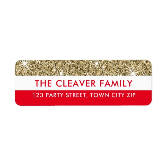 RETURN ADDRESS modern stripe faux gold glitter red