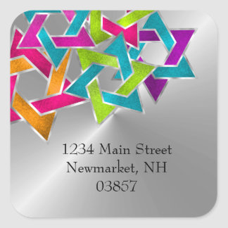 Return Address Multicolored Star of David Silver Square Sticker