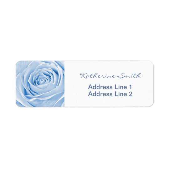Return Address Nature Floral Photo Light Blue Rose
