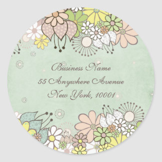 Return Address Neutral Blooms White Label Sticker
