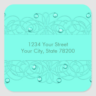 Return Address Pearls and Lace Aqua Square Sticker