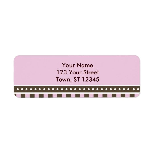 Return Address - Pink and brown Return Address Label