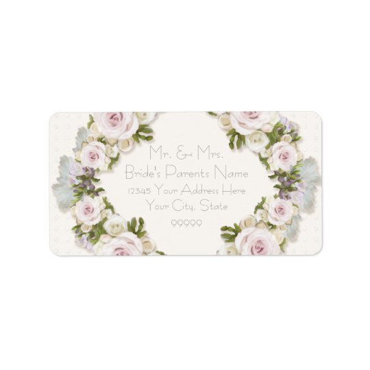 Return Address Romantic Floral Rose Vintage Style Address Label