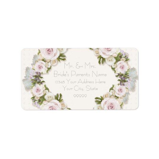 Return Address Romantic Floral Rose Vintage Style Label