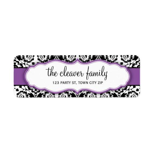 RETURN ADDRESS stylish damask black violet purple