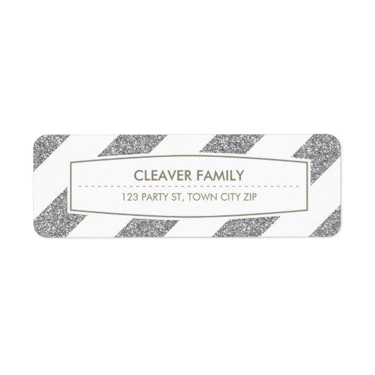 RETURN ADDRESS wide stripe pattern glitter silver Return Address Label
