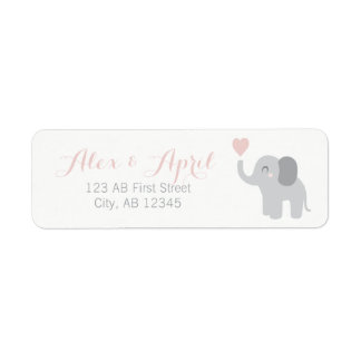 Return Label Birth Announcement Girl Elephant Cute