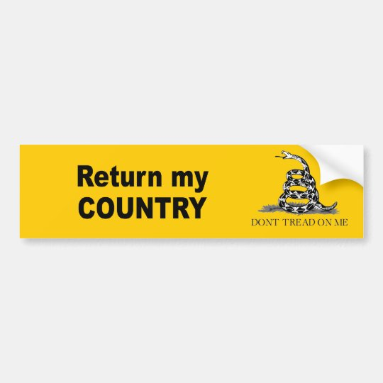 Return my country bumper sticker