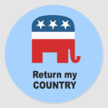 Return my country round stickers