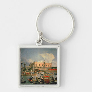 Return of the Bucintoro on Ascension Day Silver-Colored Square Key Ring