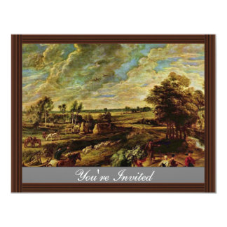 Return Of The Peasants From The Field By Rubens 11 Cm X 14 Cm Invitation Card