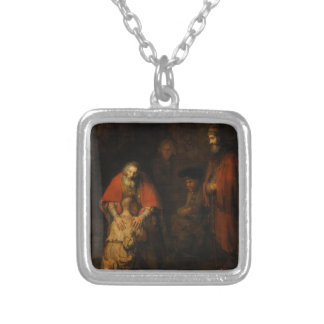 Return of the Prodigal Son by Rembrandt van Rijn Square Pendant Necklace