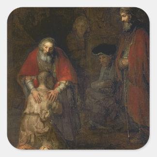 Return of the Prodigal Son c 1668-69 Square Sticker