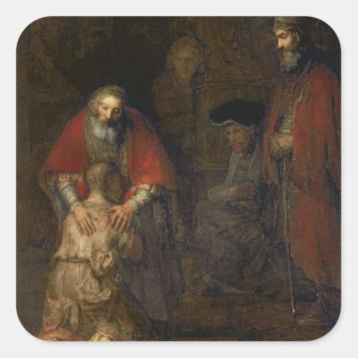 Return of the Prodigal Son, c.1668-69 Square Sticker