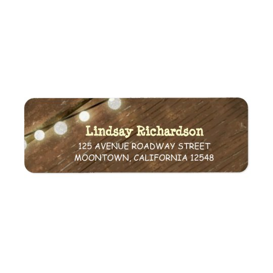 return rustic address labels with string lights