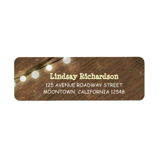 return rustic address labels with string lights