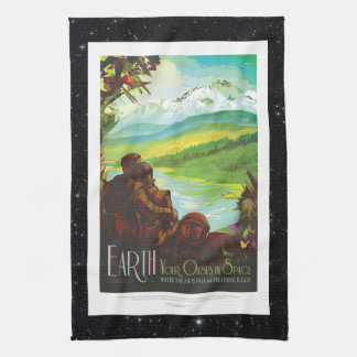 Return To Earth space tourism holiday advert Tea Towel