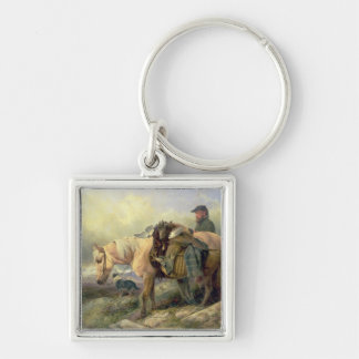 Returning from the Hill, 1868 Silver-Colored Square Key Ring