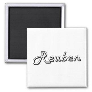 Reuben Classic Retro Name Design Square Magnet