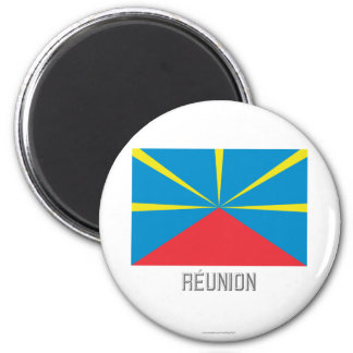 Réunion proposed flag with name 6 cm round magnet