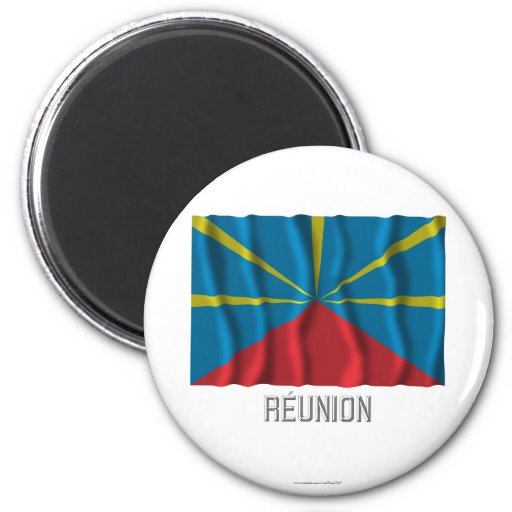 Réunion proposed waving flag with name refrigerator magnets