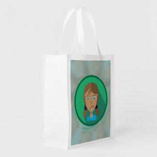 Reusable Bag SAD GIRL CARTOON