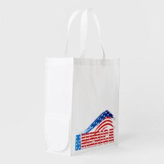 "Reusable Grocery Bag - ""AMERICA"" on Stars Stripes"