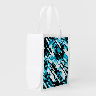 Reusable Grocery Bag Blue Black abstract G253