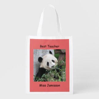 Reusable Grocery Bag, Coral, Giant Panda, Teacher