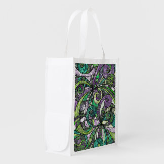 Reusable Grocery Bag Drawing Floral