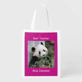 Reusable Grocery Bag, Hot Pink Giant Panda Teacher