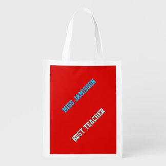 Reusable Grocery Bag, Red, Blue Best Teacher