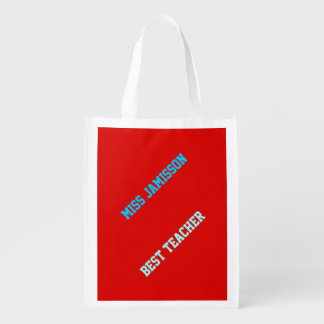 Reusable Grocery Bag Red Blue Letters