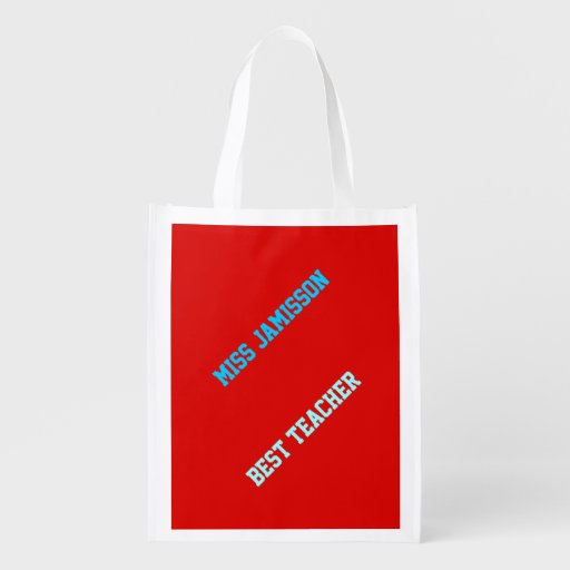 Reusable Grocery Bag, Red, Blue Letters