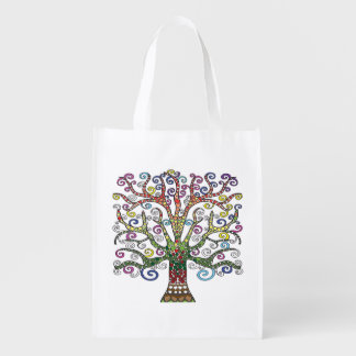Reusable Grocery bag with Colourful Tree