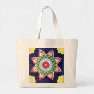 Reusable grocery shopping bag with talavera tile